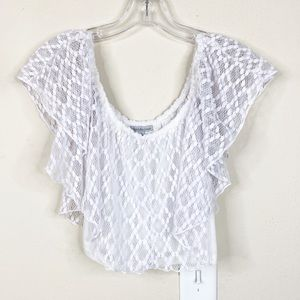 NWT Charlotte Russe White Eyelet Crop Top